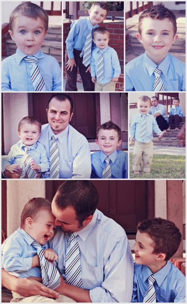 Boys and Dad wearing matching ties
