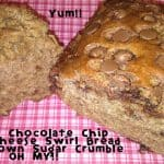 Banana Chocolate Chip Cream Cheese Swirl Bread with Brown Sugar Crumble Recipe