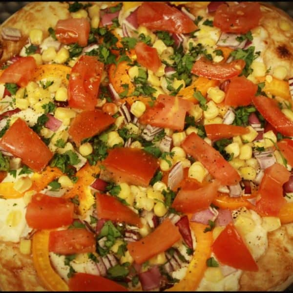 BBQ Chicken Vegetable Pizza on Whole Wheat and Honey Pizza Dough