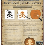 Beware Thieving Pirates on Halloween! Jolly Roger Jack O Lantern Template!