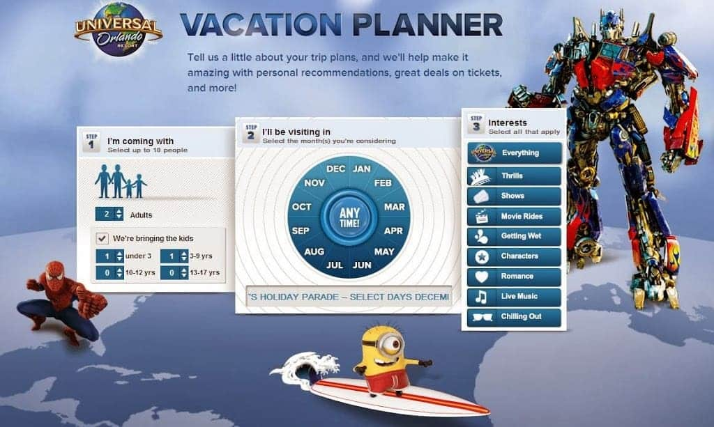 Universal Orlando Resort: All-New Interactive Online Family Vacation Planner