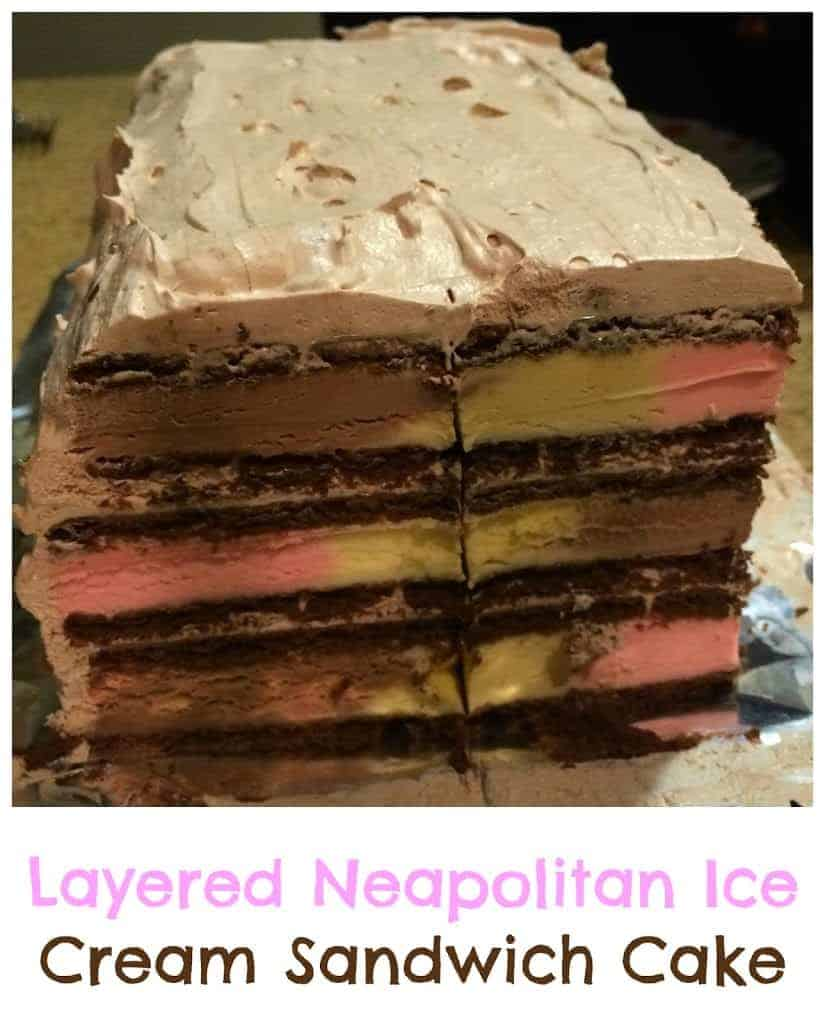 Layered Neapolitan Ice Cream Sandwich Cake