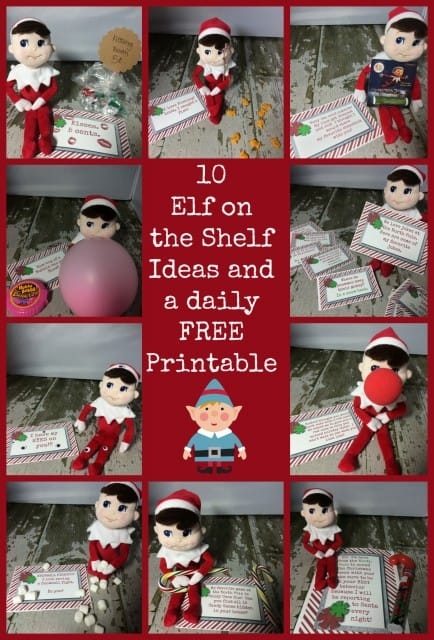 10 Easy Elf On The Shelf Ideas and FREE Printables