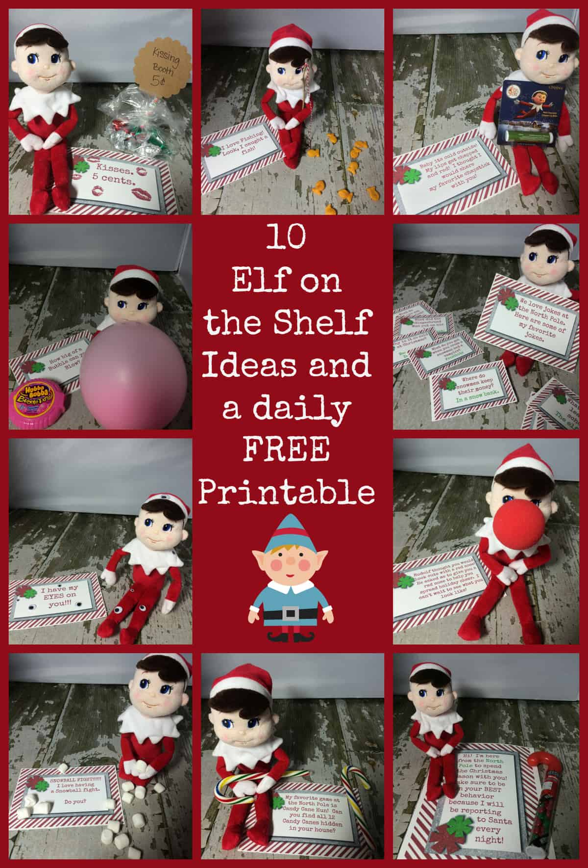 graphic regarding Free Elf Printable known as 10 Simple Elf Upon The Shelf Options and a everyday Printable
