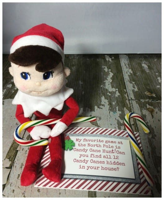 10 Elf On The Shelf Ideas and FREE daily Printable-Candy Cane