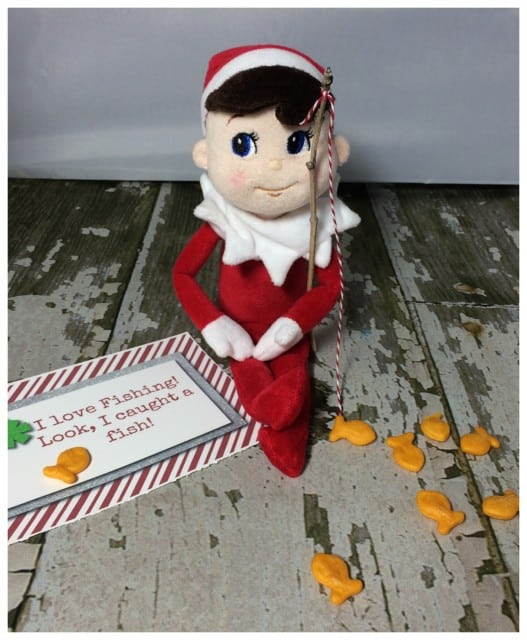 10 Elf On The Shelf Ideas and FREE daily Printable-Fishing