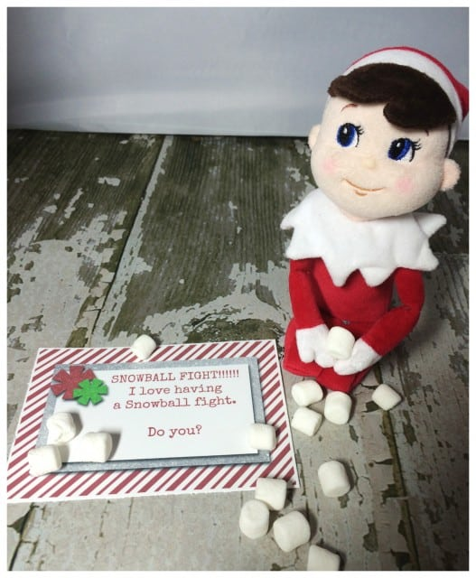 10 Elf On The Shelf Ideas and FREE daily Printable-Snowball Fight