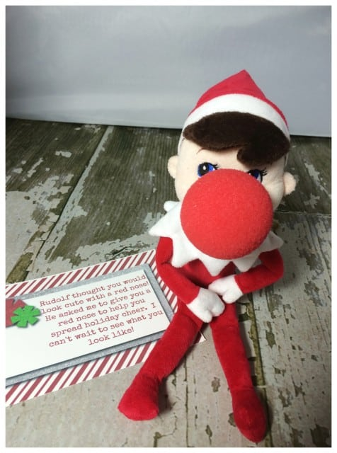 10 Elf On The Shelf Ideas and FREE daily Printable-Rudolph