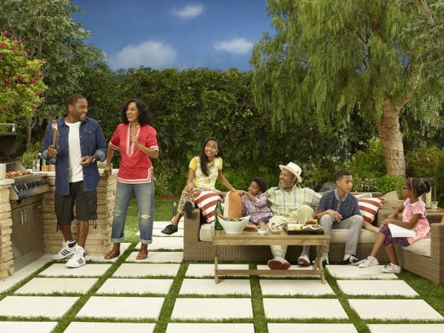 "ABC's ""black-ish"" stars Anthony Anderson as Andre ""Dre"" Johnson, Tracee Ellis Ross as Rainbow Johnson, Yara Shahidi as Zoey Johnson, Miles Brown as Jack Johnson, special guest star, Laurence Fishburne as Pops Johnson, Marcus Scribner as Andre Johnson, Jr., and Marsai Martin as Diane Johnson. (ABC/Bob D'Amico)"