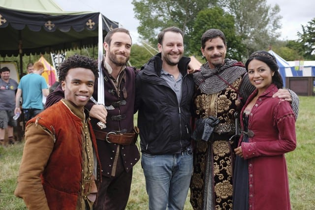 """Executive Producer Dan Fogelman with cast Karen David, Joshua Sasse, Luke Youngblood and guest star John Stamos (episode 102, """"Joust Friends""""  Photo Credit: (ABC/Nick Ray)"""