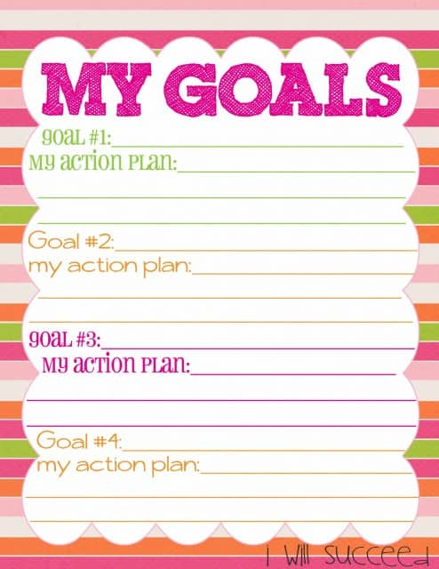 New Years Day Free Goal Printable