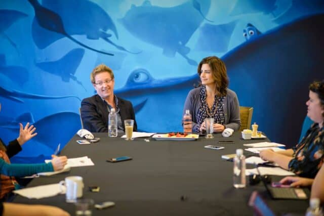 Andrew Stanton (Director) and Lindsey Collins (Producer )at the Finding Dory Long Lead press day at the Monterey Bay Aquarium in Monterey, CA. Photo by Marc Flores. ©2016 Disney•Pixar. All Rights Reserved.