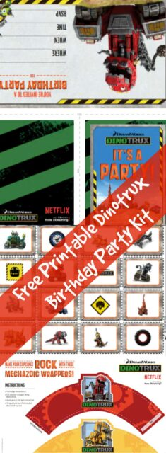 Free printable dinotrux birthday party kit for Kazoops coloring pages