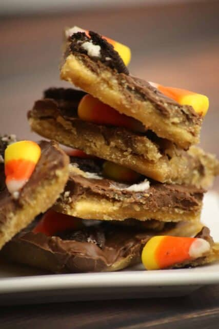 Oreo and Candy Corn Halloween Saltine Cracker Toffee