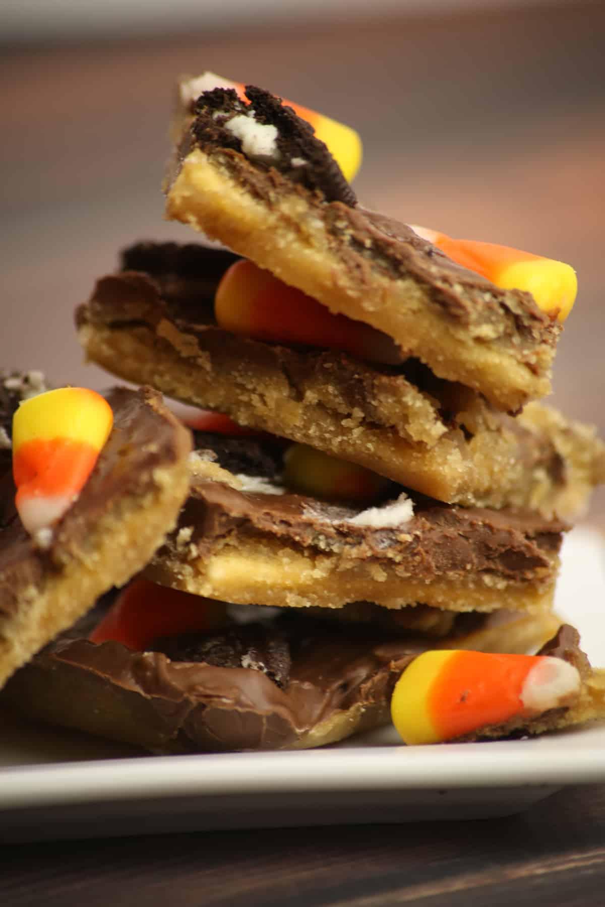 Oreo Candy Corn Saltine Cracker Toffee