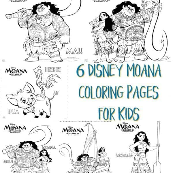 6 Disney Moana Coloring Pages for Kids