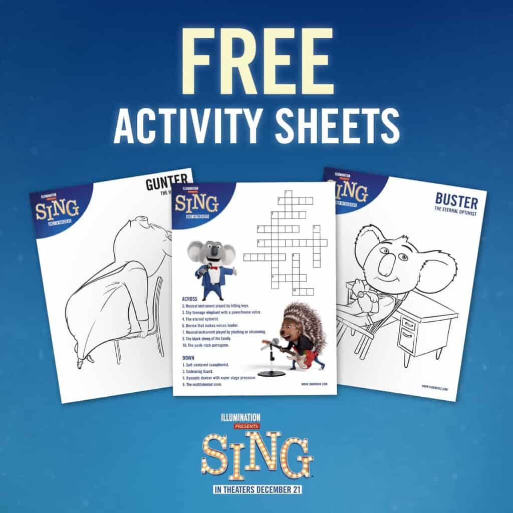 Free SING activity sheets and coloring pages