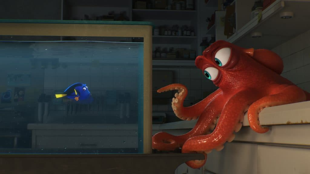 "DO I KNOW YOU? -- In Disney?Pixar's ""Finding Dory,"" everyone's favorite forgetful blue tang, Dory (voice of Ellen DeGeneres), encounters an array of new?and old?acquaintances, including a cantankerous octopus named Hank (voice of Ed O'Neill). Directed by Andrew Stanton (?Finding Nemo,? ?WALL?E?) and produced by Lindsey Collins (co-producer ?WALL?E?), ?Finding Dory? swims into theaters June 17, 2016."