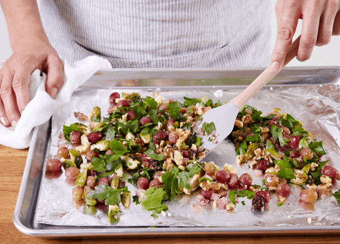 Brussels Sprouts With Grapes & Walnuts