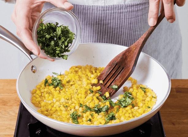 Basil-Infused Skillet Roasted Corn