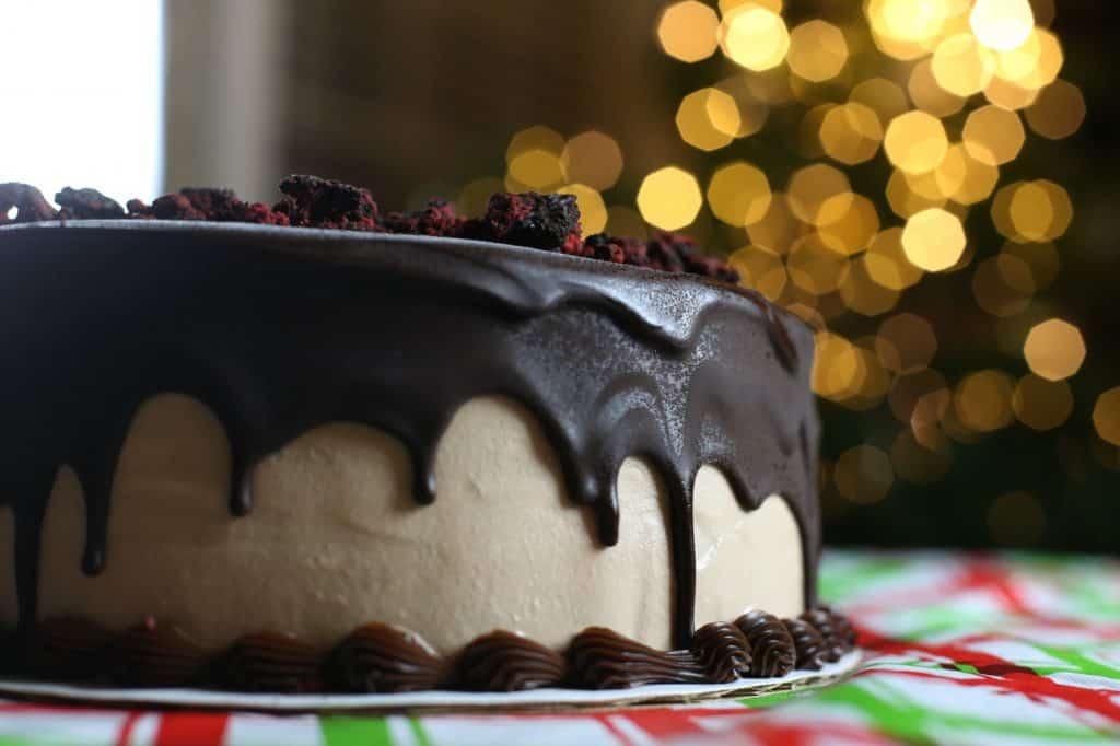 Ganache Poinsettia Cake