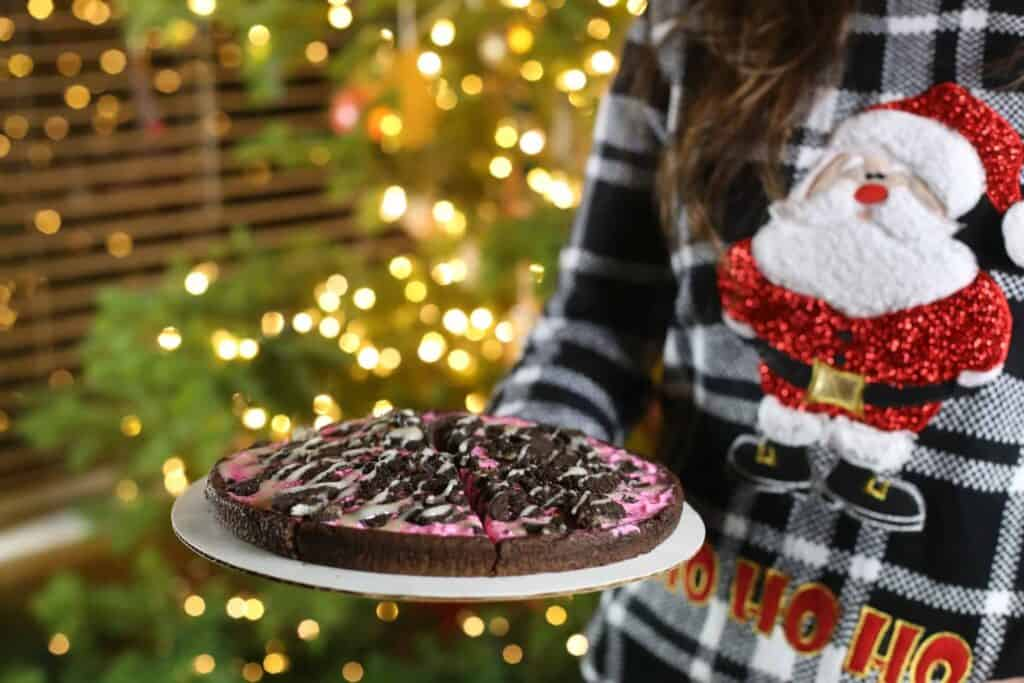 Peppermint & Winter OREO® Cookies Polar Pizza