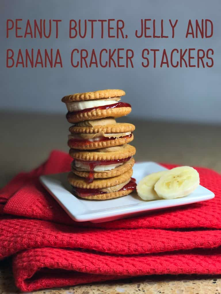 Peanut Butter, Jelly and Banana Cracker Stackers