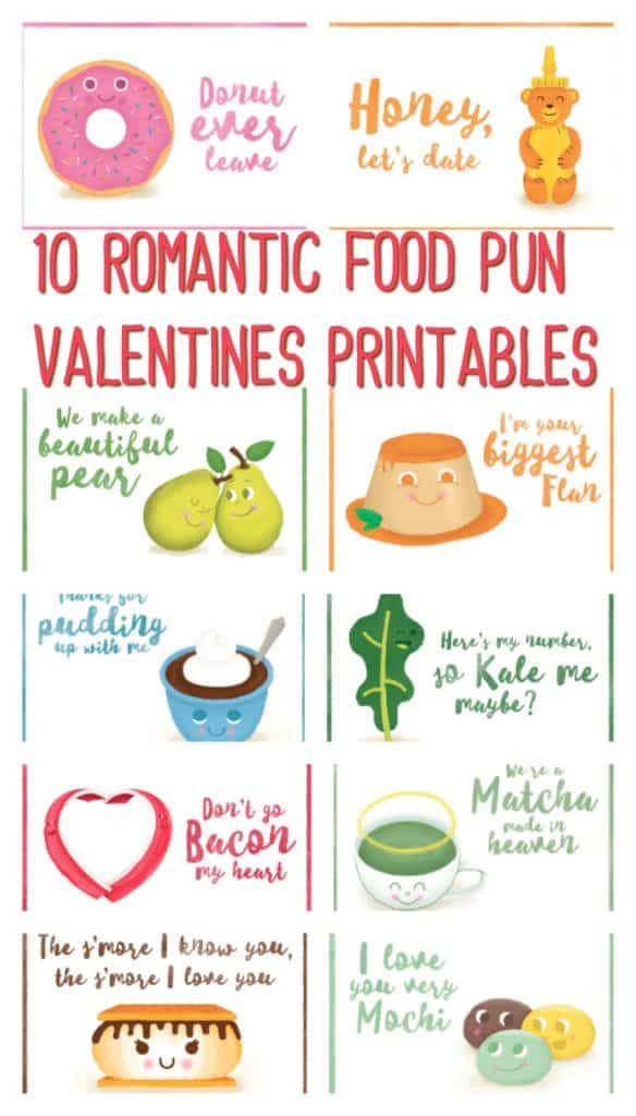 10 Romantic Food Pun Valentines Printables A Sparkle Of Genius