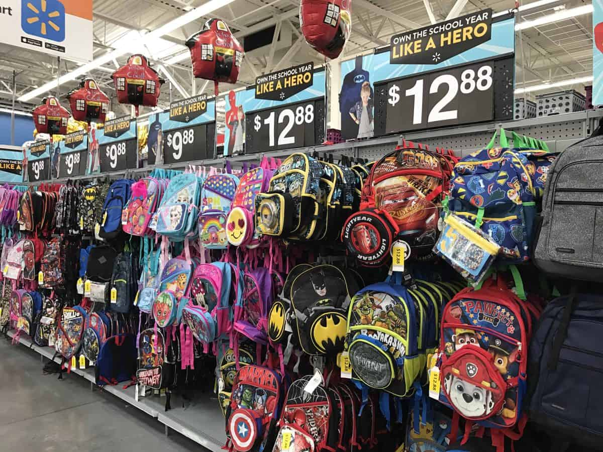 Backpacks in a store