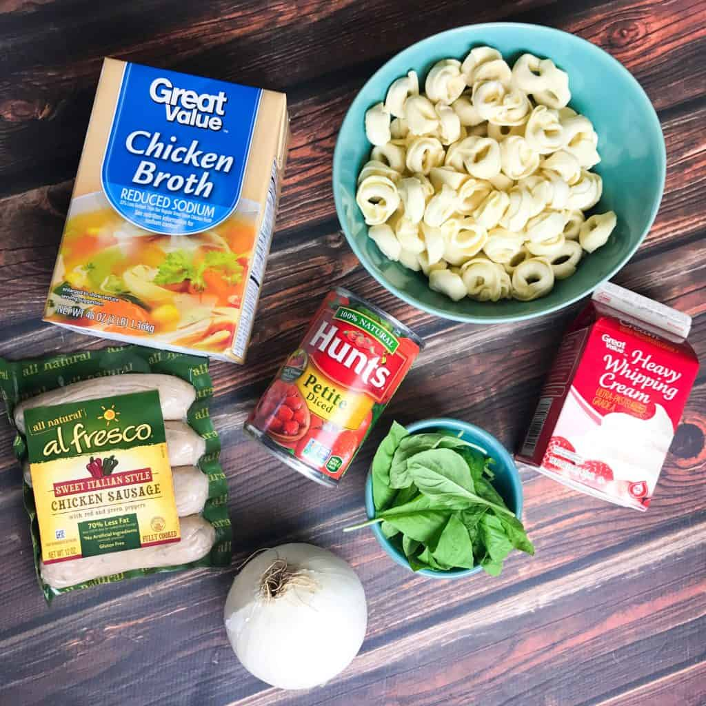 Easy One Pot Tomato Basil Tortellini with Chicken Sausage