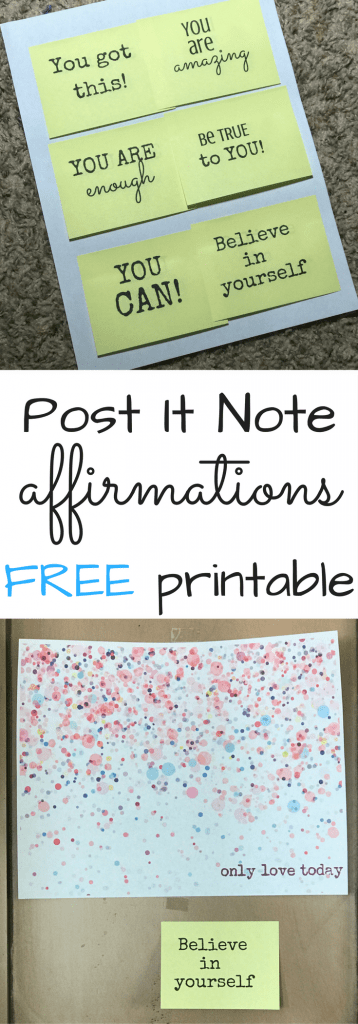 Post it Note affirmations FREE Printable