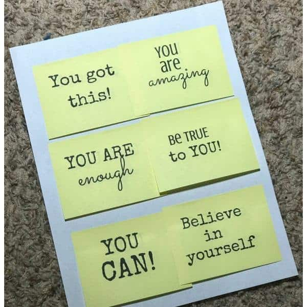 Post it Note Affirmations Printable