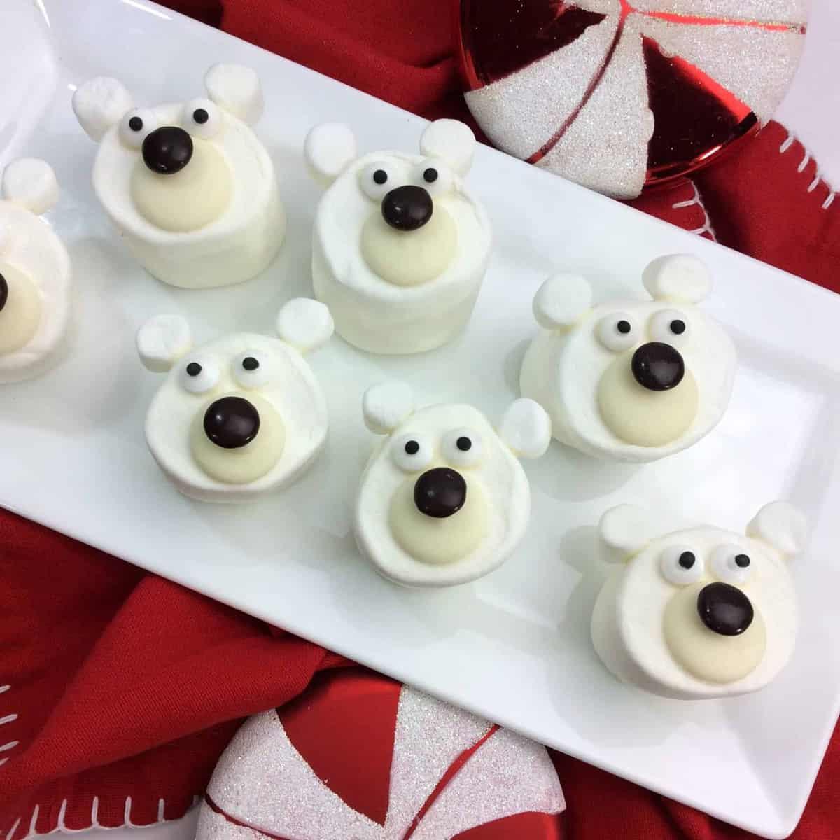 Marshmallows on white plate