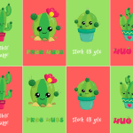 Stuck on You Free Valentines Cactus Printable