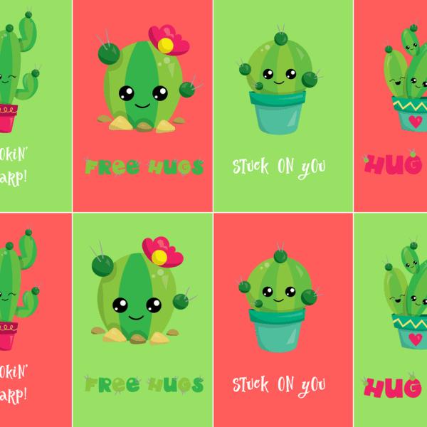 Stuck on You Free Valentines Cactus Printable