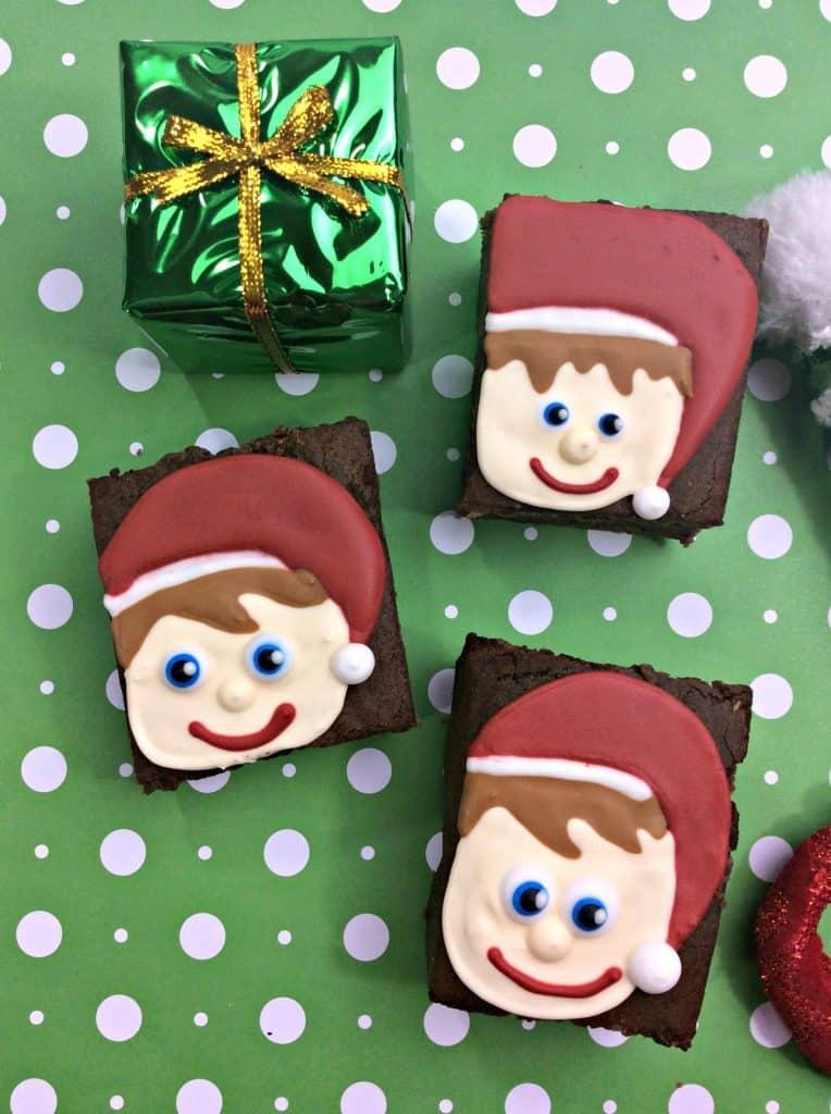 Brownie elf on green paper