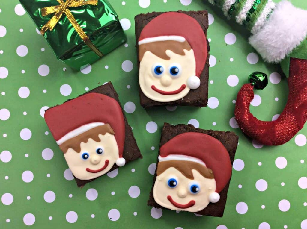 Close up of elf brownies on green paper