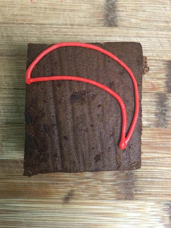 A close up of a brownie
