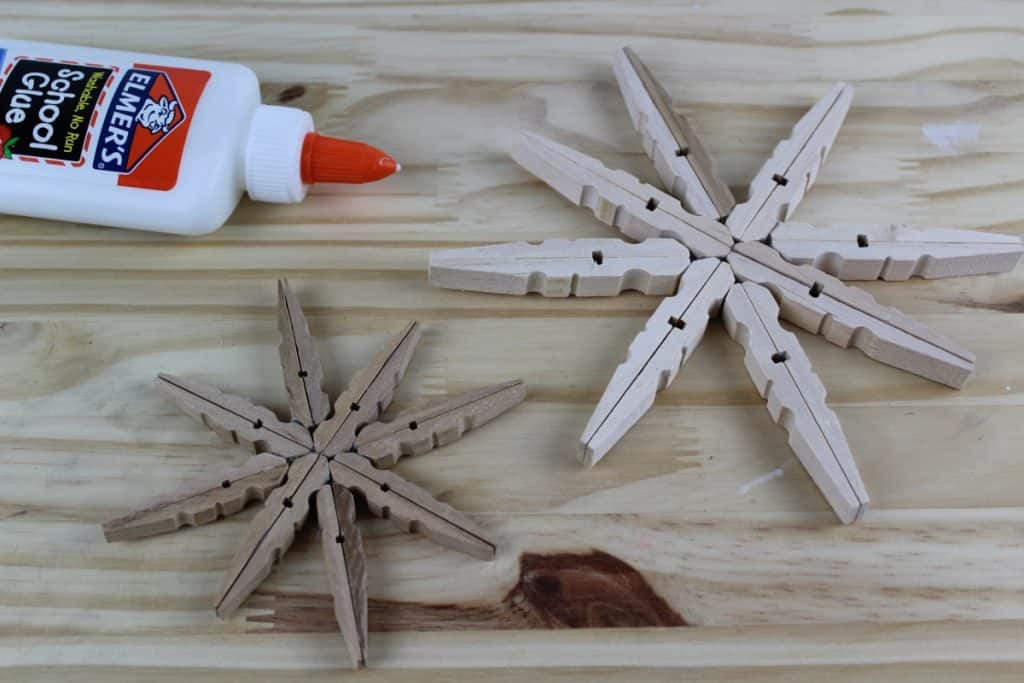 Clothespin and Glitter Snowflake Ornaments