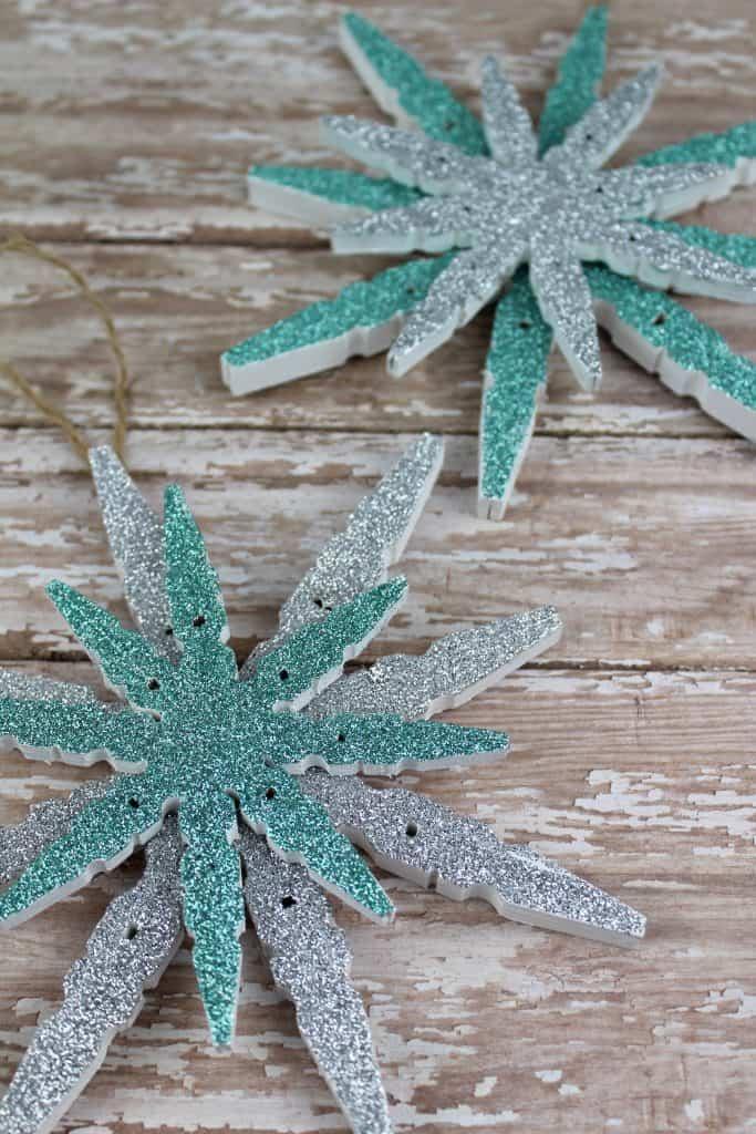 Clothespin Glitter Snowflake Ornaments