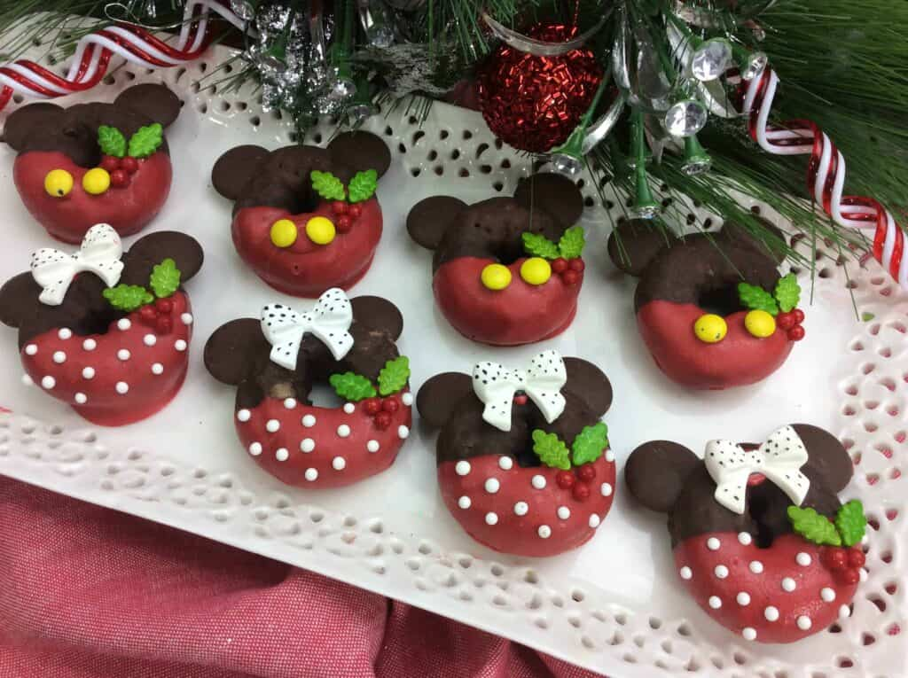 Adorable Mickey and Minnie holiday mini donuts