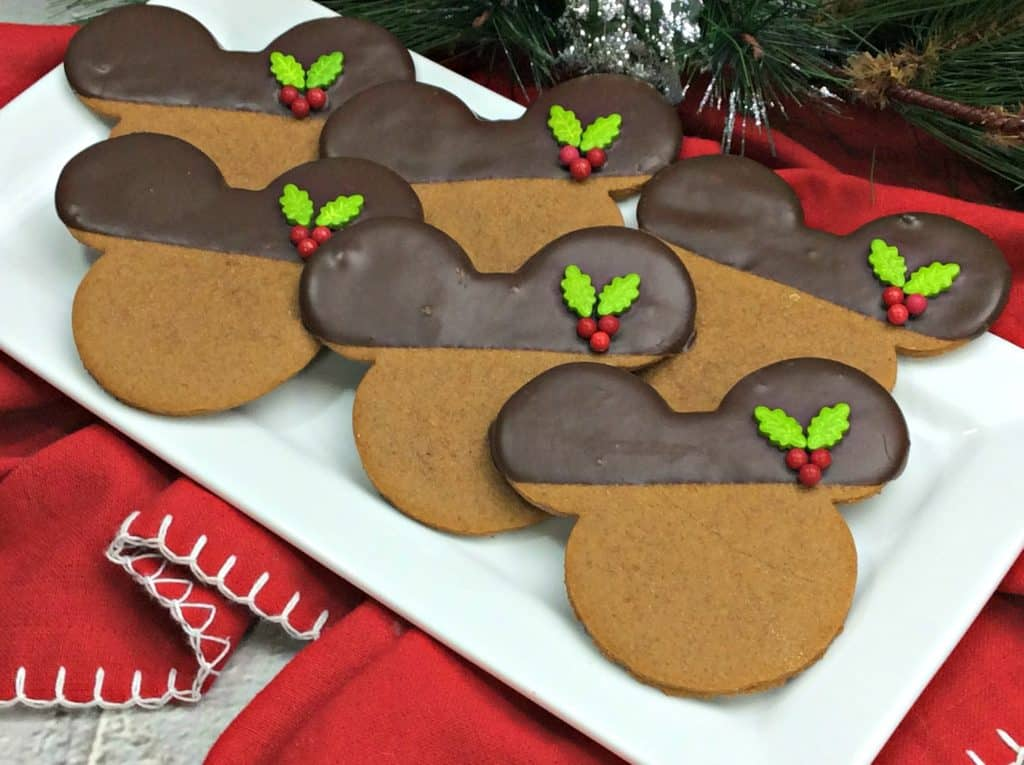 Chocolate Dipped Mickey Gingerbread cookies