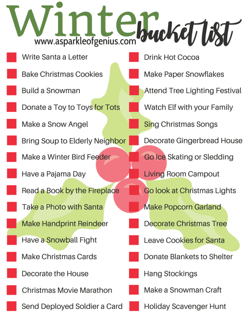 Winter Family Bucket List Free Printable