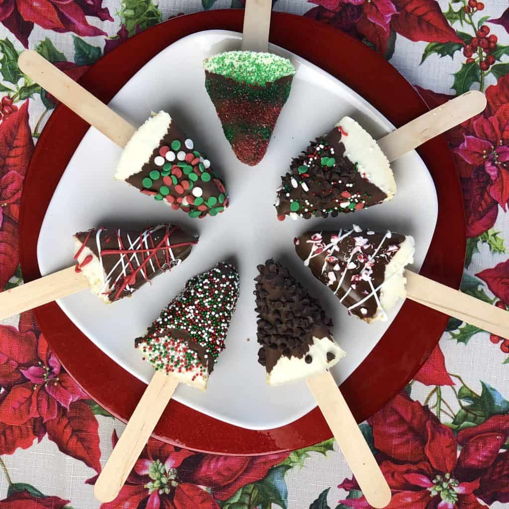 Easy Holiday Chocolate Dipped Cheesecake