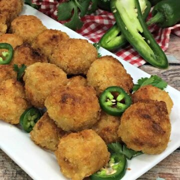 A plate of food with jalapeños