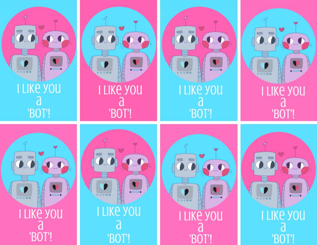 I Like You a Bot Free Printable Valentine