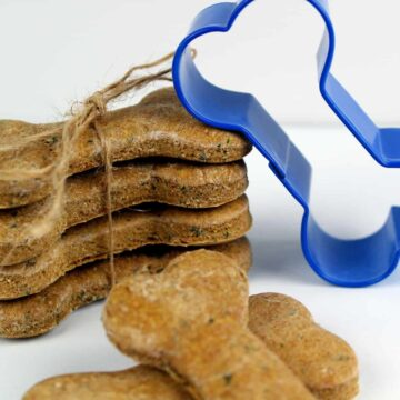 Food on a table, with Dog and Biscuit