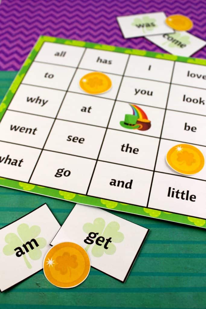 Saint Patrick's Day Sight Word Bingo