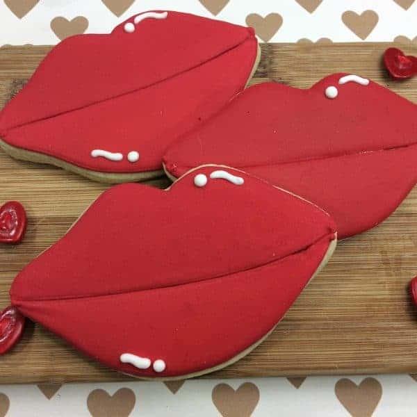 Valentine's Day Lip Shaped Sugar Cookies