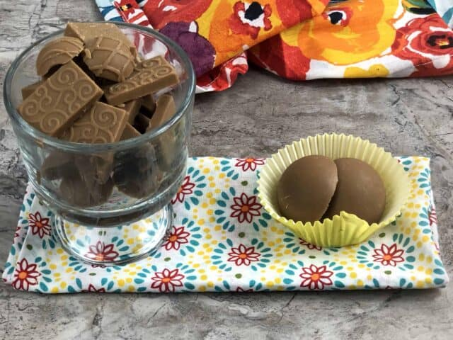 Food on a table, with Peanut and Chocolate